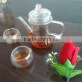 2012 fashionable Handmade process Eco-friendly Pyrex glass tea pot set with pink handle and flower lid