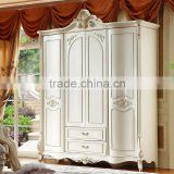 Stock Luxury Ivory White Unique Hand Carved Classical French Baroque European Style 4, 5, 6 Door MDF Wooden Bedroom Wardrobe