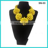 2016 Special Fashion Jewelry Yellow Plated Heavy Pine Nuts Statement Necklace With Chains