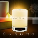 Wireless Bluetooth Speaker Music Sound Bo with Alarm Clock Function Touch LED Table Lamp Support Hands-free Call TF Card Slot