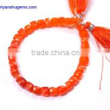 "Carnelian Hand made 6-15 mm Faceted Box shape, 7"" Strand length 100% Natural gemstones"