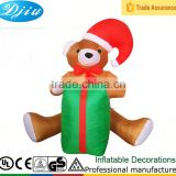 DJ-XT-28 inflatable brown bear with christmas hat and kids gift decoration under the christmas tree