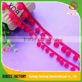 [NTSUNRISING] Jiangsu factory red crocheted india pom pom and fringe taseel lace trimming