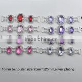 (M0864) 95mmx25mm crystal chain for napkin use,silver plating,buckle size:10mm,acrylic beads, 17colors