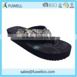 Beaded thick crust latest ladies slippers shoes and sandals