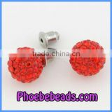 Wholesale Red Bling Bling Crystal Rhinestone Ball Earrings Stud 10mm Shamballa Silver Plated Jewelry Fashion Women SCE001