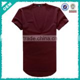 Deep v neck t shirts with short sleeves, stylish cheap and nice blank t shirts made in China