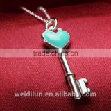 custom wholesale 925 sterling silver pendant necklace key shape blue gemstone pendants necklace for gift