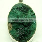 Malachite Oval Rough Gemstone Pendant, 925 Solid Sterling Silver Pendants, Designer Bezel Pendant