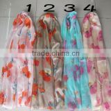 New Women's Fashion Georgette Long Wrap Shawl Beach Silk Scarf Scarves silk fabric for scarf