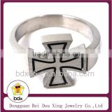 Gothic Style Religious Jewelry Men's Stainless Steel Black Enamel Hip Hop Jesus Rings with Cross Religious Letters Jewlery