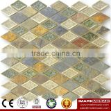 Imark Rhombus Crackle Glazed Ceramic Tile Mix Slate Mosaic Tile Kitchen Backsplash Tile / Bathroom Tile / Art Wall Ceramic Mos