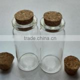 Small capcity 10ml clear custom glass top grade cosmetic bath salt bottle packing perfume bottle with mooden cork cap