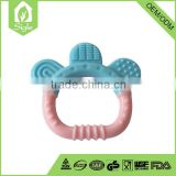 Hot sale 2016 BPA free custom made ring down claws shape round shape funny silicone baby teether