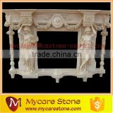 Home decorative hand carved antique natural marble fireplace mantels