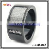 Fashion diamond black stainless steel gay men rings
