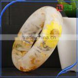 ZHIYA 2016 Series Fashion Clear Resin Bangle cloud effect with Real Dried Yellow chrysanthemum Flowers Gold foil