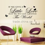 Removable wall stickers English butterfly Litte Love sofa bedroom TV background wall decoration stickers LM066