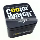 square watch tin boxes,tin watch box / fossil watch box,black tin case for watch