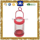 Red Delightful cylindrical metal candle lantern for Christmas Holiday and Wedding Decoration