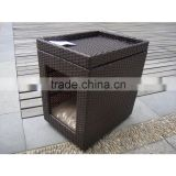 Cheap flip-open rattan/wicker cat house with raw material