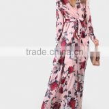 Guangzhou clothing OEM Flower Print Long Cuff Sleeve Surplice Wrap Dress