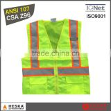 EN20471 ANSI107 mens polyester tricot safety reflective yellow high visibility vest
