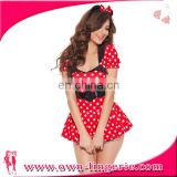 halloween sexy costume dress,wholesale Cartoon role cosplay costume,high quality cute red costume white dot