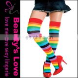 Stocking knitting machine, stocking tops showing, rainbow stocking