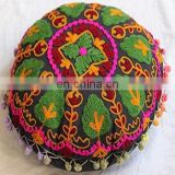 Mandala design indian Handmade Embroidered Suzani Cushion Cover Uzbekistan Style Woolen Embroidery Christmas Gift Round pouf