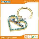 High quality souvenir custom metal heart rhinestone keychain