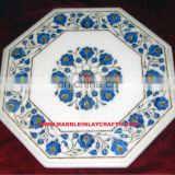 White Marble Stone Inlay Coffee Table Top