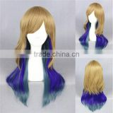 cheap medium 60cm multi color blonde blue wave cosplay Lolita women party wig