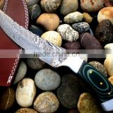 "udk h3"" custom handmade Damascus hunting knife with brass clips and Buffalo horn handle"