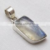 Handmade Silver Jewelry, Blue Fire Rainbow Moon Stone 925 Silver Pendant, Christmas Gift , Gemstone Jewellery Pendant, Indian