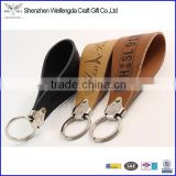 handmade tan genuine leather keychain holders lanyard logo imprint hot sale