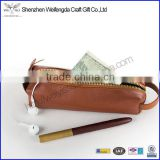 Genuine Leather Handmade Pen Case Holder Pouch Pencil Organizer Bag Purse with Zipper Closure