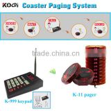 Wireless coaster patron pager with receiver and keypads, for coffee shop Restaurant club Service Equipment Guest paging system
