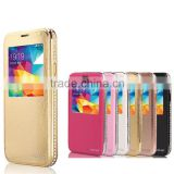 Wallet Genuine Leather Metal Bumper with Diamond Edged Flip-On Back Cover Cell Phone Cases for Samsung S5