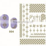 2015 hot sale 3D eco friendly DIY flower heart metallic lace nail art sticker decoration set