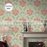 popular heavy embossed pvc coated wallpaper, brown retro damask wall sticker for hotel , peelable wall mural distributor