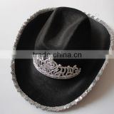 Black felt cowboy hat with crown for kids
