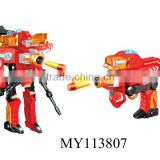 Wholesale & popular! B/O Changeable super robot and soft bullet gun 2 in 1 changeable robot toy soft bullet gun toys for kids