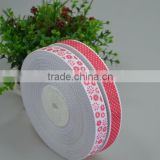 Supply 12mm 1/2inch pink white color printed grosgrain ribbon for gift box decoration craft kids bow