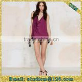 europe style sexy spaghetti straps purple v neck backless women blouse