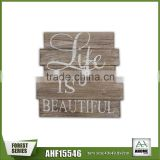 "Popular Handmade Wooden Wall Shelf With White Words ""Life Is Beautiful"" Wall Plaque"