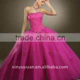 new style beauty wholesale custom strapless sleeveless pink beaded wedding dress ball gown quinceanera dresses MRQ-088