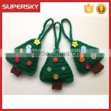 V-509 customize handmade knitted christmas tree ornaments with buttons christmas decoration hanging toy ornament gift