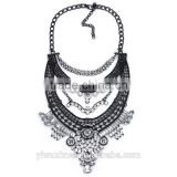 Fashion Jewelry vintage gunmetal with rhinestone and resin fringe bib statement necklace, 8 colors chunky necklace