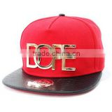 Paypal acceptable PU leather cotton metal plate famous logo red black hiphop hats baseball sports snapback cap
